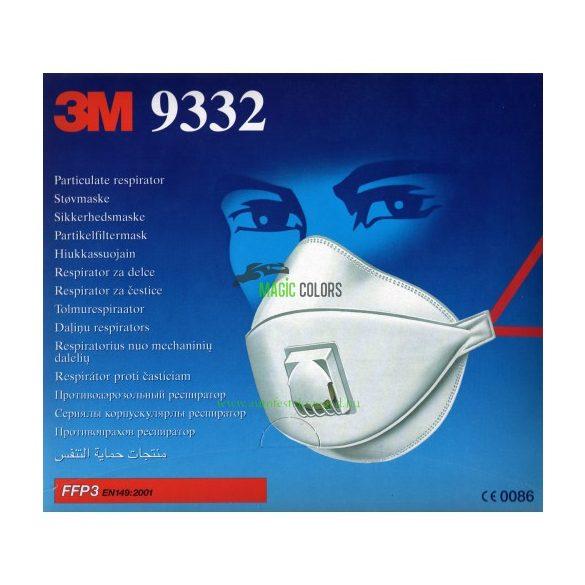 3M™ 09332 Pormaszk - Szelepes, Paneles részecskeszűrő (FFP3)