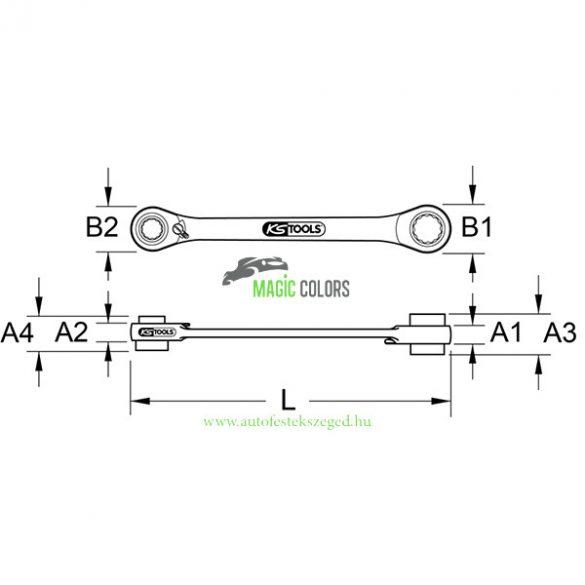 KSTools 4 az 1-ben GearPlus racsnis csillagkulcs, 10x19 – 13x17 mm